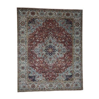 "Shahbanu Rugs Hand-Knotted Pure Wool Antiqued Heriz Re-Creation Oriental Rug (7'9"" x 9'8"") - 7'9"" x 9'8"""