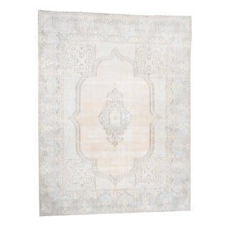 """Shahbanu Rugs White Wash Vintage Kerman Sheared Low Hand-Knotted Oriental Rug (9'9"""" x 12'7"""") - 9'9"""" x 12'7"""""""