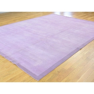"""Shahbanu Rugs Modern Overdyed Pure Wool Lavender Hand Knotted Oriental Rug (9'0"""" x 12'0"""") - 9'0"""" x 12'0"""""""