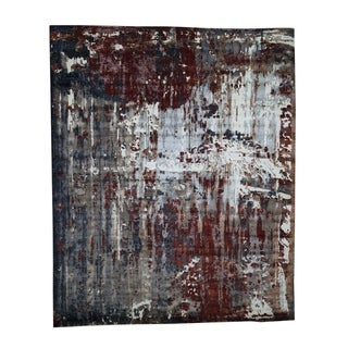"""Shahbanu Rugs Hand-Knotted Wool And Silk Abstract Design Oriental Rug (8'0"""" x 9'8"""") - 8'0"""" x 9'8"""""""