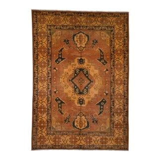 "Shahbanu Rugs Hand-Knotted Pure Wool Kazak Overdyed Orange Oriental Rug  (6'2"" x 8'9"") - 6'2"" x 8'9"""