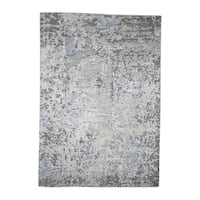 """Shahbanu Rugs Abstract Design Wool And Silk Hand-Knotted Hi-Lo Pile Rug  (5'5"""" x 7'9"""") - 5'5"""" x 7'9"""""""