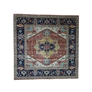 "Shahbanu Rugs Antiqued Heriz Re-Creation Pure Wool Hand-Knotted Square Oriental Rug (10'0"" x 10'1"") - 10'0"" x 10'1"""
