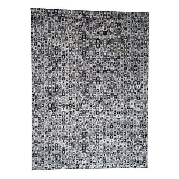 """Shahbanu Rugs THE SQUARES Real Silk Hand-Knotted Oriental Rug (9'0"""" x 12'1"""") - 9'0"""" x 12'1"""""""