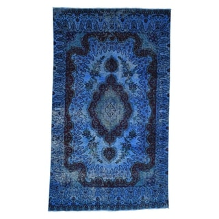 """Shahbanu Rugs Overdyed Persian Tabriz  Blue Pure Wool Hand Knotted Oriental Rug  (5'7"""" x 9'6"""") - 5'7"""" x 9'6"""""""