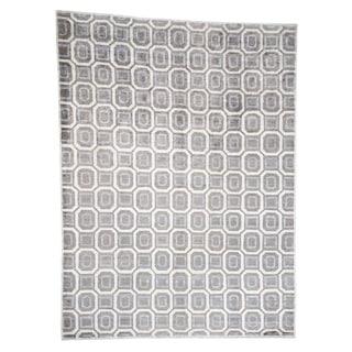 "Shahbanu Rugs Modern Art Silk Geometric Design Hand Knotted Oriental Rug (10'3"" x 13'10"") - 10'3"" x 13'10"""