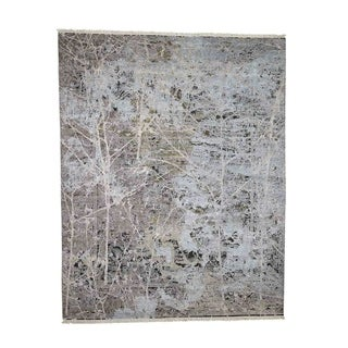 """Shahbanu Rugs Hand-Knotted Silk With Oxidized Wool Transitional Rug (8'0"""" x 10'1"""") - 8'0"""" x 10'1"""""""
