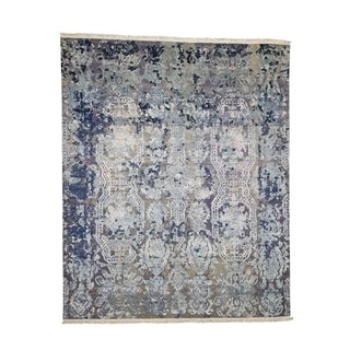 """Shahbanu Rugs Hand-Knotted Silk With Oxidized Wool Transitional Rug (8'1"""" x 9'9"""") - 8'1"""" x 9'9"""""""
