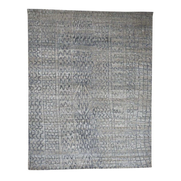 """Shahbanu Rugs THE ERASED MOROCCAN Silk with Oxidized Wool Hand-Knotted Oriental Rug (8'0"""" x 10'1"""") - 8'0"""" x 10'1"""""""