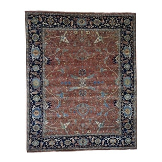 """Shahbanu Rugs All Over Design Hand-Knotted Antiqued Heriz Re-Creation Oriental Rug (8'1"""" x 10'0"""") - 8'1"""" x 10'0"""""""