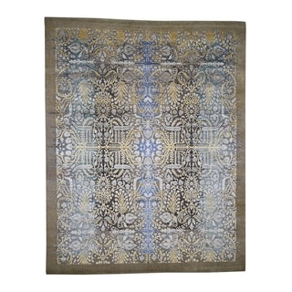 """Shahbanu Rugs Hand-Knotted Silk with Oxidized Wool Transitional Sarouk Oriental Rug (8'0"""" x 10'0"""") - 8'0"""" x 10'0"""""""