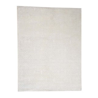 """Shahbanu Rugs Hand-knotted Tone on Tone Pure Silk with Oxidized Wool Oriental Rug (9'1"""" x 12'0"""") - 9'1"""" x 12'0"""""""