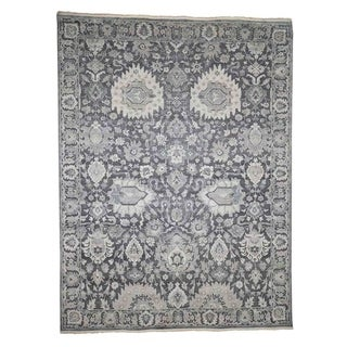 """Shahbanu Rugs Hand-Knotted Oushak Influence Silk with Oxidized Wool Oriental Rug (9'0"""" x 11'10"""") - 9'0"""" x 11'10"""""""