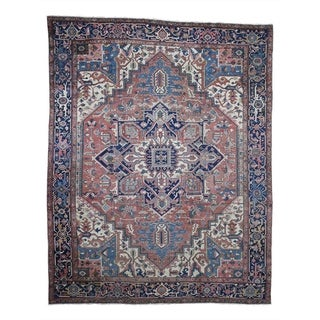 """Shahbanu Rugs Antique Persian Serapi Exc Cond Pure Wool Hand-Knotted Oriental Rug (10'1"""" x 12'8"""") - 10'1"""" x 12'8"""""""