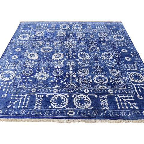 "Shahbanu Rugs Hand-Knotted Wool and Silk Tone on Tone Tabriz Square Oriental Rug (6'0"" x 6'1"") - 6'0"" x 6'1"""