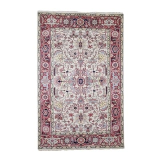 """Shahbanu Rugs Antiqued Heriz All Over Design Pure Wool Hand-Knotted Oriental Rug (3'8"""" x 6'0"""") - 3'8"""" x 6'0"""""""