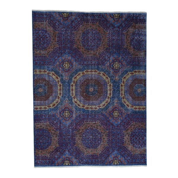 "Shahbanu Rugs Vintage Pre-Historical Mamluk Design Zero Pile Oxidized Wool Rug (9'0"" x 12'0"") - 9'0"" x 12'0"""