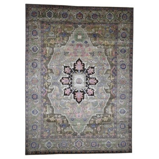 "Shahbanu Rugs Hand-Knotted Wool And Silk Heriz Design Thick And Plush Oriental Rug (8'8"" x 11'10"") - 8'8"" x 11'10"""