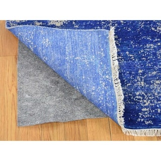 """Shahbanu Rugs Hand-Knotted Abstract Design Tone on Tone Wool and Silk Oriental Rug (8'1"""" x 9'10"""") - 8'1"""" x 9'10"""""""