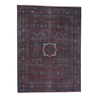 "Shahbanu Rugs Vintage Look Mamluk Distressed Zero Pile Shaved Low Worn Wool Rug (9'0"" x 12'0"") - 9'0"" x 12'0"""