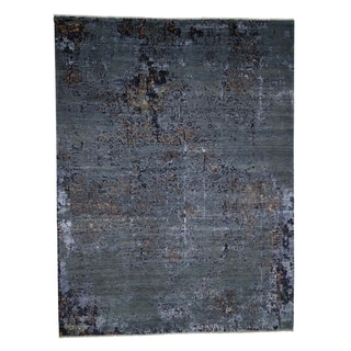 "Shahbanu Rugs Broken Design Modern Hand Knotted Wool and Silk Oriental Rug (9'0"" x 11'10"") - 9'0"" x 11'10"""