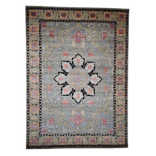 "Shahbanu Rugs Hand-Knotted Heriz Design Wool And Silk Oriental Rug (8'10"" x 12'1"") - 8'10"" x 12'1"""