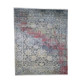 "Shahbanu Rugs Hand-Knotted Broken Design Silk with Oxidized Wool Transitional Rug (8'1"" x 10'0"") - 8'1"" x 10'0"""