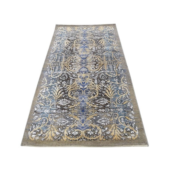 """Shahbanu Rugs Hand-Knotted Silk with Oxidized Wool Transitional Sarouk Oriental Rug (2'8"""" x 6'0"""") - 2'8"""" x 6'0"""""""