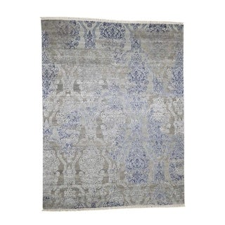 """Shahbanu Rugs Silk with Oxidized Wool Hand-Knotted Transitional Rug (8'0"""" x 10'4"""") - 8'0"""" x 10'4"""""""