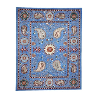 "Shahbanu Rugs Hand-Knotted Peshawar with Suzani Design Pure Wool Oriental Rug (8'2"" x 10'2"") - 8'2"" x 10'2"""