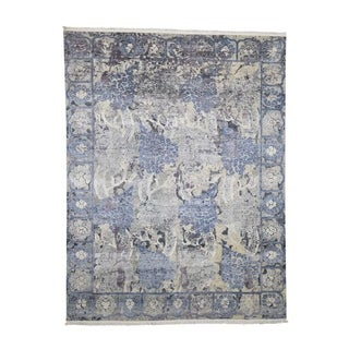 """Shahbanu Rugs Hand-Knotted Silk With Oxidized Wool Transitional Rug (7'9"""" x 10'1"""") - 7'9"""" x 10'1"""""""