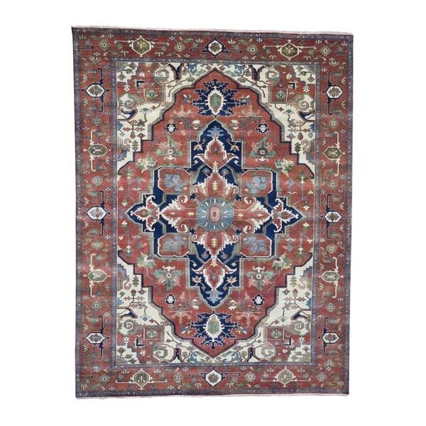 Hand Knotted Heriz Wool Fine Persian Oriental Area Rug: Shop Shahbanu Rugs Hand-Knotted Serapi Heriz Pure Wool