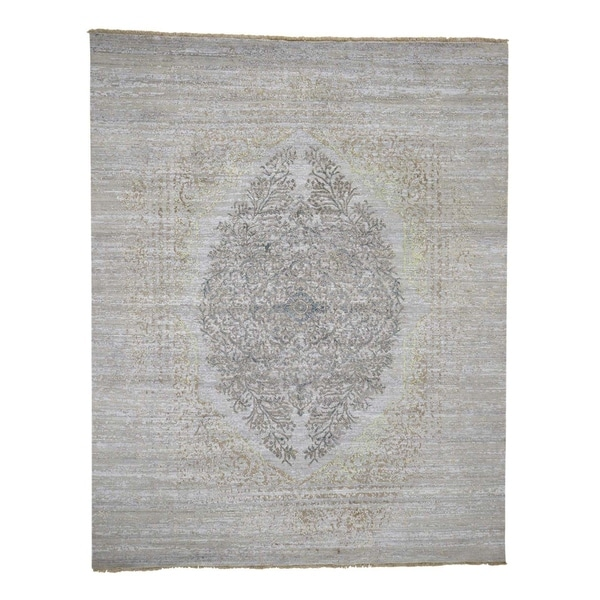 "Shahbanu Rugs Transitional and yet Persian Design Wool and Silk Hand Knotted Rug (8'0"" x 10'0"") - 8'0"" x 10'0"""