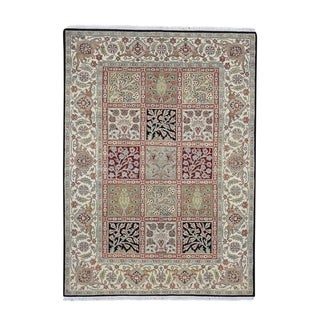 "Shahbanu Rugs Hand-Knotted Garden Design Rajasthan Pure Wool Oriental Rug (5'1"" x 7'0"") - 5'1"" x 7'0"""