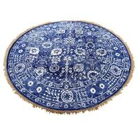 "Shahbanu Rugs Hand-Knotted Wool and Silk Tone on Tone Round Tabriz Oriental Rug (4'2"" x 4'2"") - 4'2"" x 4'2"""