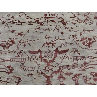 "Shahbanu Rugs Broken Design Heriz Wool and Silk Oriental Rug Hand Knotted (9'0"" x 11'9"") - 9'0"" x 11'9"""