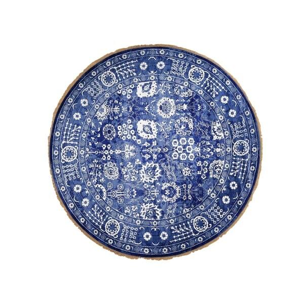 "Shahbanu Rugs Hand-Knotted Wool and Silk Tone on Tone Round Tabriz Oriental Rug (9'2"" x 9'2"") - 9'2"" x 9'2"""