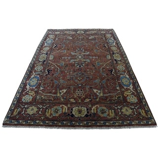 """Shahbanu Rugs Antiqued Heriz Re-Creation All Over Design Hand-Knotted Rug (3'10"""" x 6'0"""") - 3'10"""" x 6'0"""""""