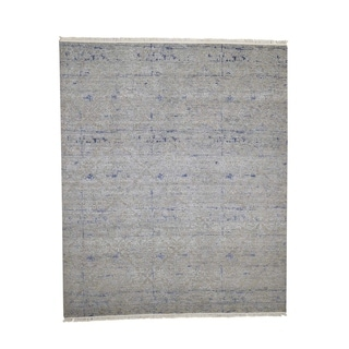 "Shahbanu Rugs Hand-Knotted Silk with Oxidized Wool Modern Oriental Rug (8'0"" x 9'8"") - 8'0"" x 9'8"""