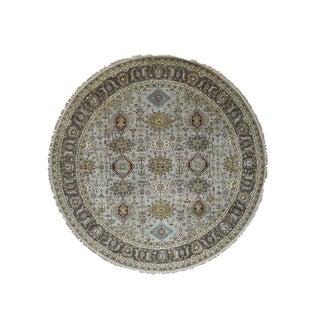 "Shahbanu Rugs Hand-Knotted Silver Karajeh Design Pure Wool Round Oriental Rug (8'0"" x 8'0"") - 8'0"" x 8'0"""