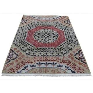 "Shahbanu Rugs Vintage Look Mamluk Zero Pile Shaved Low Worn Wool Rug  (4'0"" x 6'0"") - 4'0"" x 6'0"""