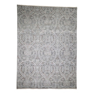 """Shahbanu Rugs Pure Silk With Oxidized Wool Vaze Design Hand-Knotted Oriental Rug (9'0"""" x 12'2"""") - 9'0"""" x 12'2"""""""