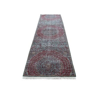 "Shahbanu Rugs Vintage Look Mamluk Zero Pile Shaved Low Worn Wool Runner Rug (2'6"" x 9'10"") - 2'5"" x 9'10"""