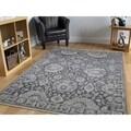 Shahbanu Rugs Grey Silk/Oxidized Wool/Cotton Handmade Oushak-influenced Oriental Area Rug - 7'10 x 10'4