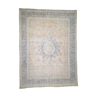 """Shahbanu Rugs Hand-Knotted White Wash Vintage Kerman Low Sheared Oriental Rug (10'0"""" x 13'0"""") - 10'0"""" x 13'0"""""""