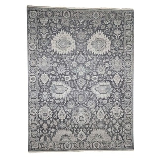 """Shahbanu Rugs Hand-Knotted Oushak Influence Silk with Oxidized Wool Oriental Rug (8'10"""" x 12'0"""") - 8'10"""" x 12'0"""""""