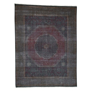 "Shahbanu Rugs Vintage Look Mamluk Zero Pile Shaved Low Worn Wool Rug (9'6"" x 13'10"") - 9'6"" x 13'10"""