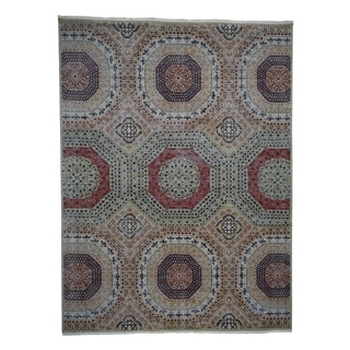"Shahbanu Rugs Vintage Look Mamluk Zero Pile Shaved Low Worn Wool Rug (10'0"" x 13'8"") - 10'0"" x 13'8"""