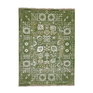 "Shahbanu Rugs Hand-Knotted Wool and Silk Tone on Tone Tabriz Oriental Rug (5'2"" x 7'1"") - 5'2"" x 7'1"""