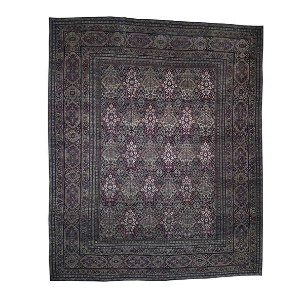 "Shahbanu Rugs Antique Persian Kerman Shah Good Condition Even Wear Hand-Knotted Rug (14'0"" x 16'9"") - 14'0"" x 16'9"""